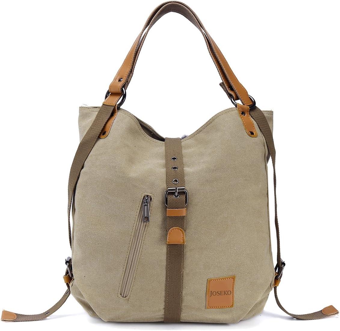 Bolso de hombro JOSEKO de lona Mochila para mujer, bolso convertible de mochila multifuncional para el trabajo, escuela, para viaje, Correa de PU, El color / diseño puede variar
