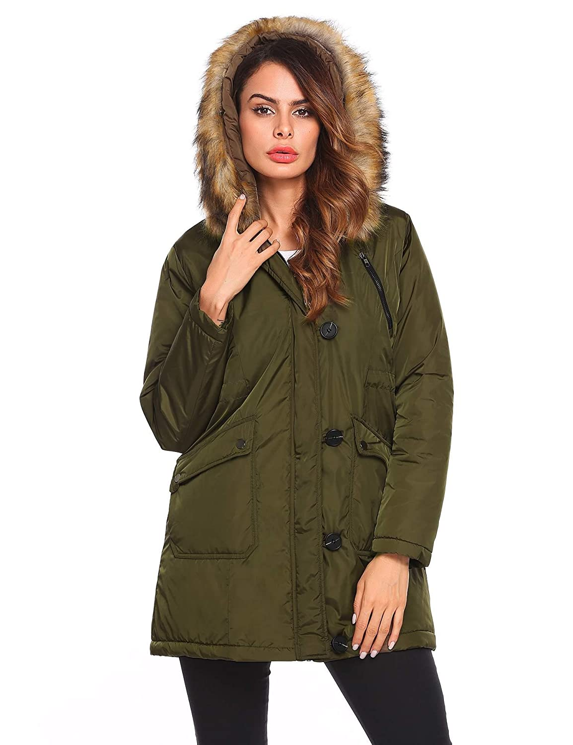 Cromoncent Men Faux Fur Hooded Camouflage Mid Length Fall Winter Outside Parkas Down Coat