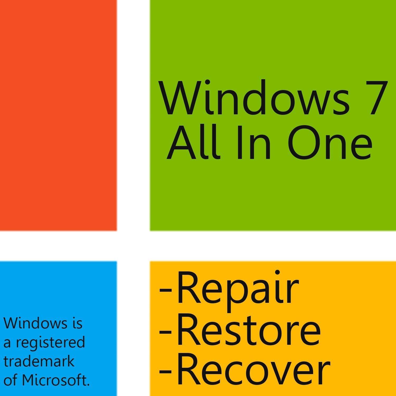 Windows 7 AIO -All In One- 32bit/64bit for Home Basic, Home Premium, Professional, Ultimate - Repair - Restore - Reinstall - Windows 7