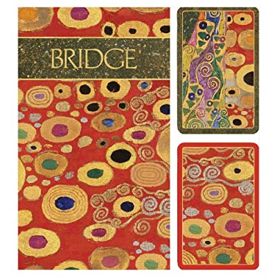 Caspari Viennese Nouveau Large Type Bridge Gift Set - 2 Playing Card Decks & 2 Score Pads: Toys & Games