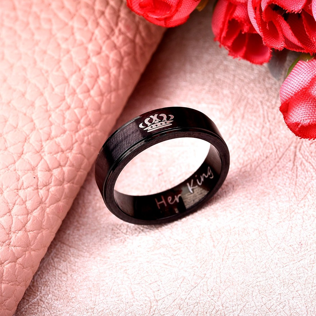 OBSEDE Simple Black Couple Ring His Queen Her King Band Ring for ...