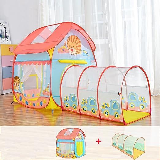 Pop-up tienda de campaña de los niños, Little Lion patrón de dibujos animados Azul y Rosa Modelado Ocean Ball Casa Tendas transpirables interior y exterior Juguetes pequeña tienda (no incluye Ocean Ball):