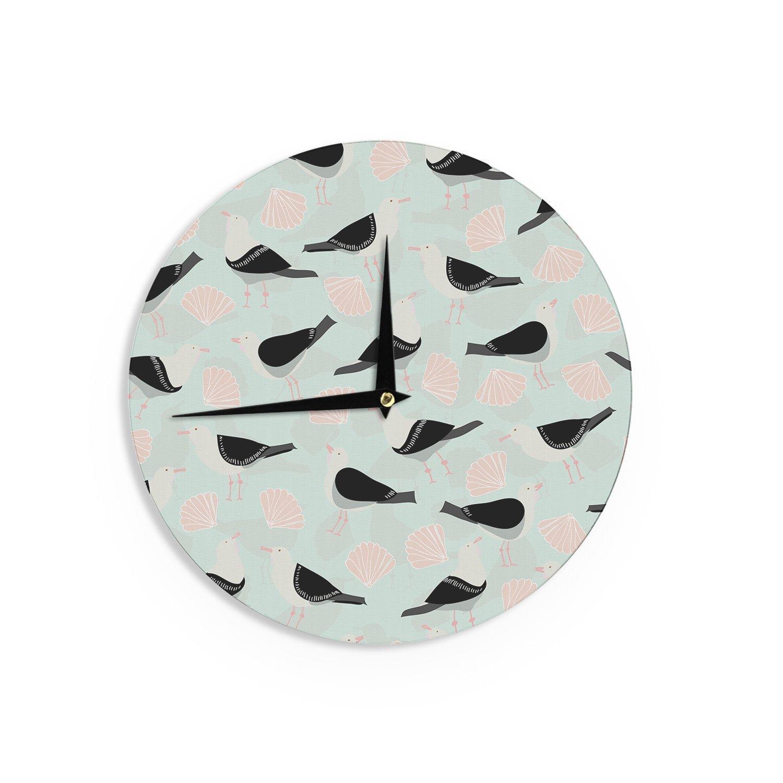 Kess InHouse Michelle Drew Seagulls and Shells Wall Clock 12-Inch