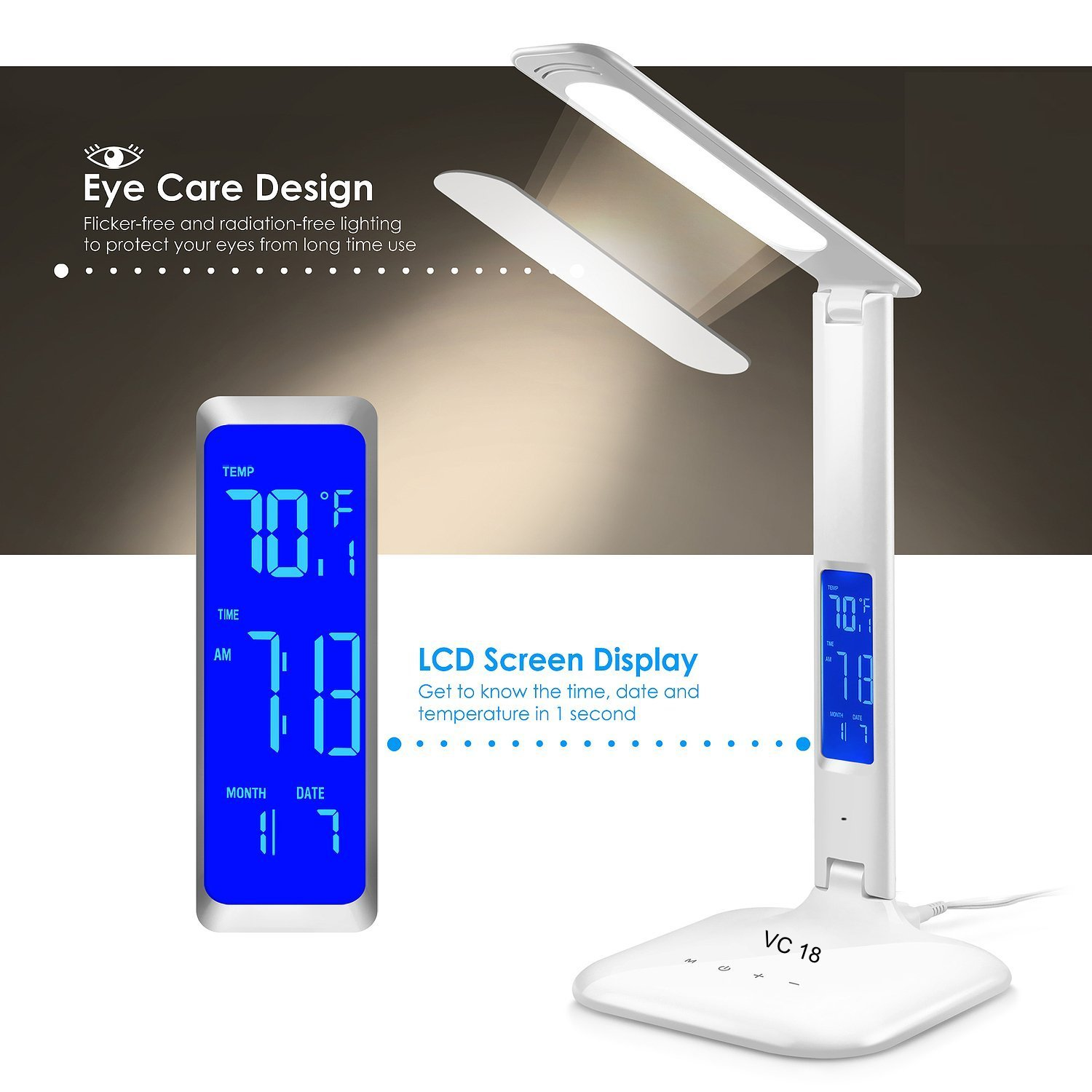 Smart WiFi Alexa Google Assistant Control LED Desk Lamp with Eye Caring Reading Light, 3 Lighting Mode, 5-Level Dimmer, Touch Control, Built-in Clock, Calendar, Thermometer by 3A Nue (Image #5)