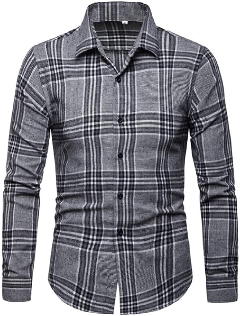 GRMO Men Checkered Classic Casual Long Sleeve Business Trendy Button Down Shirts Tops