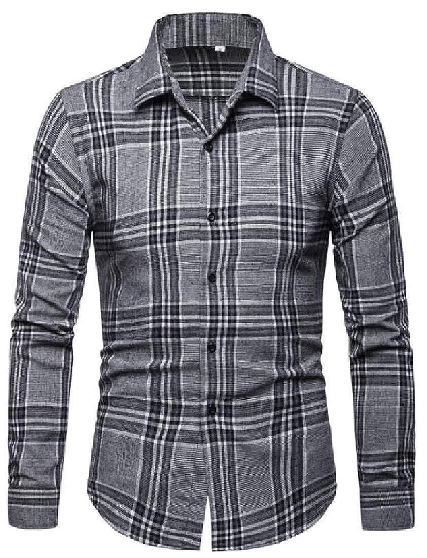 ARTFFEL Mens Checkered Classic Casual Business Long Sleeve Vogue Button Down Blouse Shirt Tops