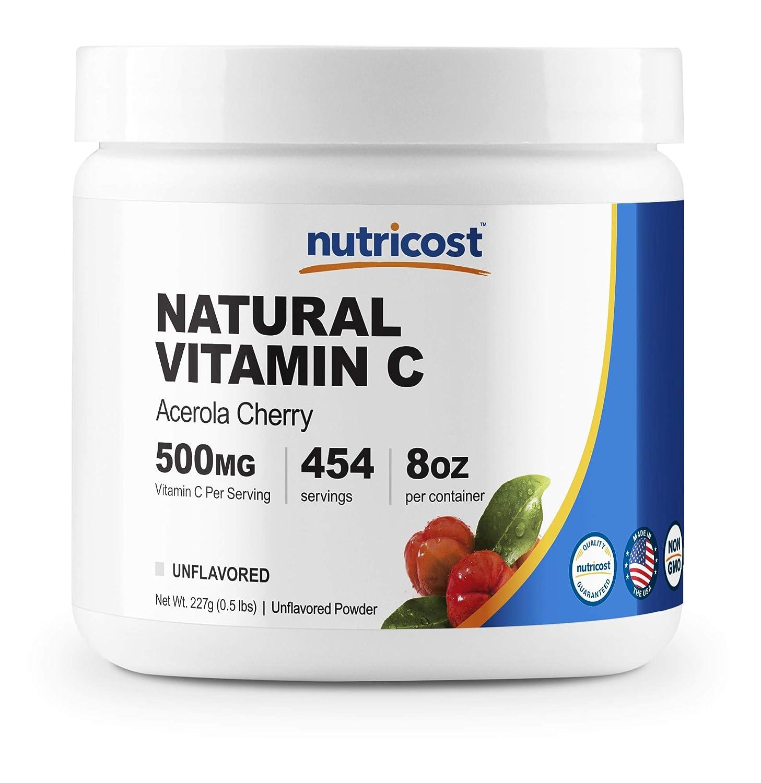 Nutricost Natural Vitamin C - Acerola Cherry Powder 0.5 LB - Gluten Free & Non-GMO