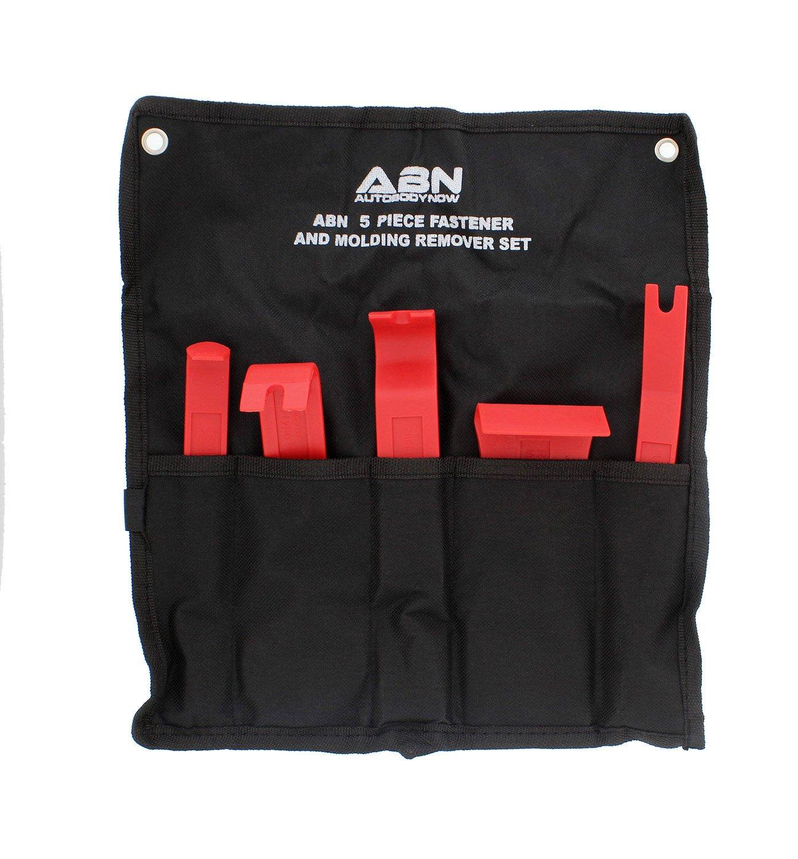 ABN Premium Auto Trim Removal Tool Kit - 5 Piece Pry Bar Set, Fastener Remover -Auto Body Repair Tools - Trim Molding Interior Door Dash Panel Remover