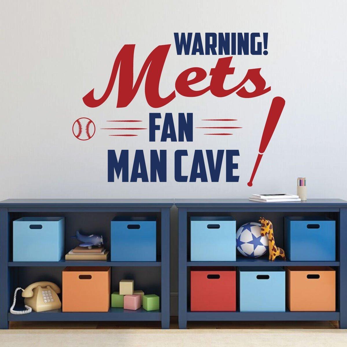 NY Mets Wall Art - Baseball Decorations - Sports Team Athlete Bedroom Decor - Vinyl Wall Decal - MLB Wall Decals for Bedroom, Dorm, Playroom - ManCave Wall Decor