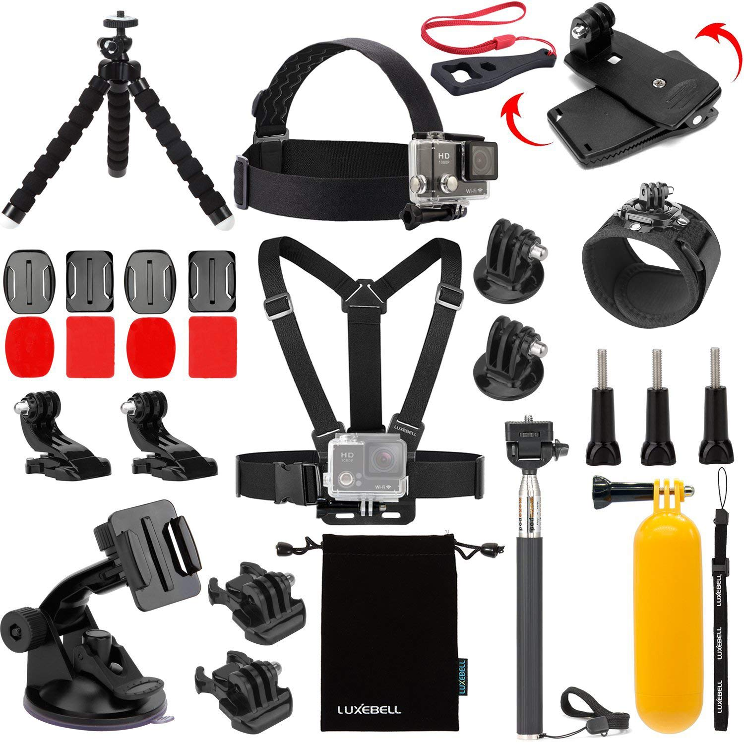 Luxebell 13-in-1 Essentials Accessories Kit for Gopro Hero 4 Session Black Silver Hero+ LCD 3+/3/2 Camera and Sjcam Sj4000 Sj5000 - Chest Mount Harness / Head Strap / Float Grip / Selfie Stick GP0041