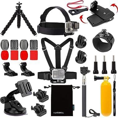 Luxebell Accessories Kit for AKASO EK5000 EK7000 4K WiFi Action Camera Gopro Hero 7 6 5/Session 5/Hero 4/3+/3/2/1 Fusion (14 Items)