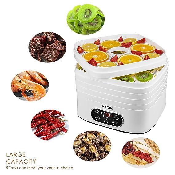 Aicok - Deshidratador de alimentos con 5 bandejas para ...