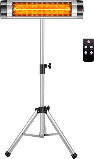 Arebos Infrarot Heizstrahler 2500 W mit Fernbedienung/mit Stativ/Höhenverstellbar/Schwenkbar/Mobil / 3 Heizstufen/Wandbefestigung/Innen- und…