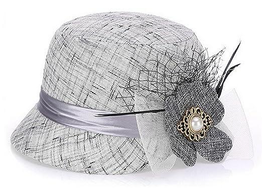 83d7351684b GEMVIE Chapeau Melon Fedora Trilby Femme Anglais Style Cérémonie Mariage  Argent