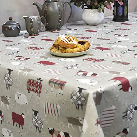 Woolly Jumpers Beige Wipe Clean PVC Oilcloth Tablecloth   130cm Wide    Price Per Half Metre
