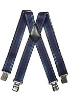 Bretelles motif Toile de Jean, entièrement réglable Extra Fort avec 4 Clips - 4cm