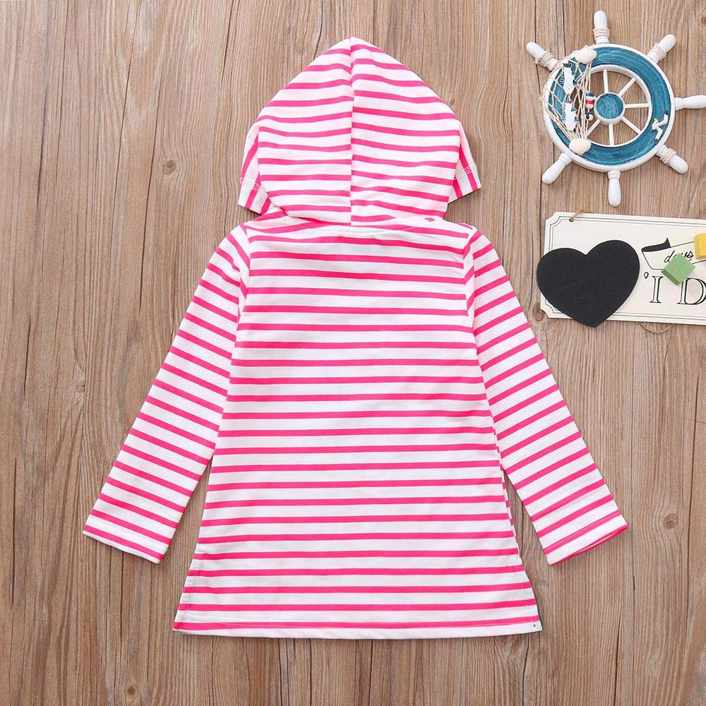Cartoon Horse Stripe Dress Baby Girls Infant Kids Casual Dresses