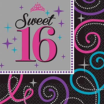 NET TOYS 17 Servilletas 16 Cumpleaños - 33 x 33 cm ...
