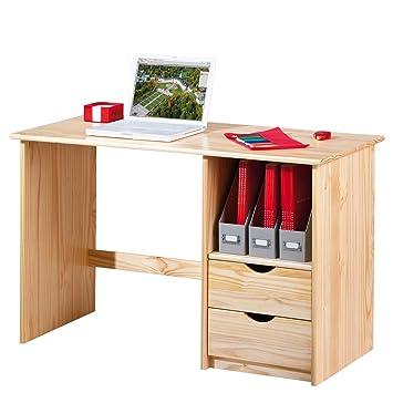 Links 30600102 Schreibtisch mit Schubladen, Kiefer massiv, Holz ...