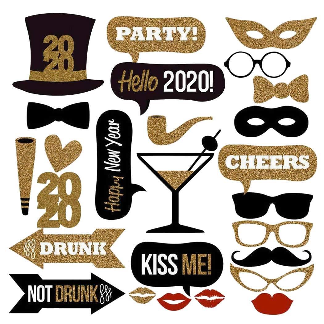 Veewon 2018 Nochevieja Party Photo Booth Props 26pcs Kit DIY Photobooth Prop Máscaras Bigote Sombrero Labios Rojos Gafas para el Año Nuevo Fuentes de ...