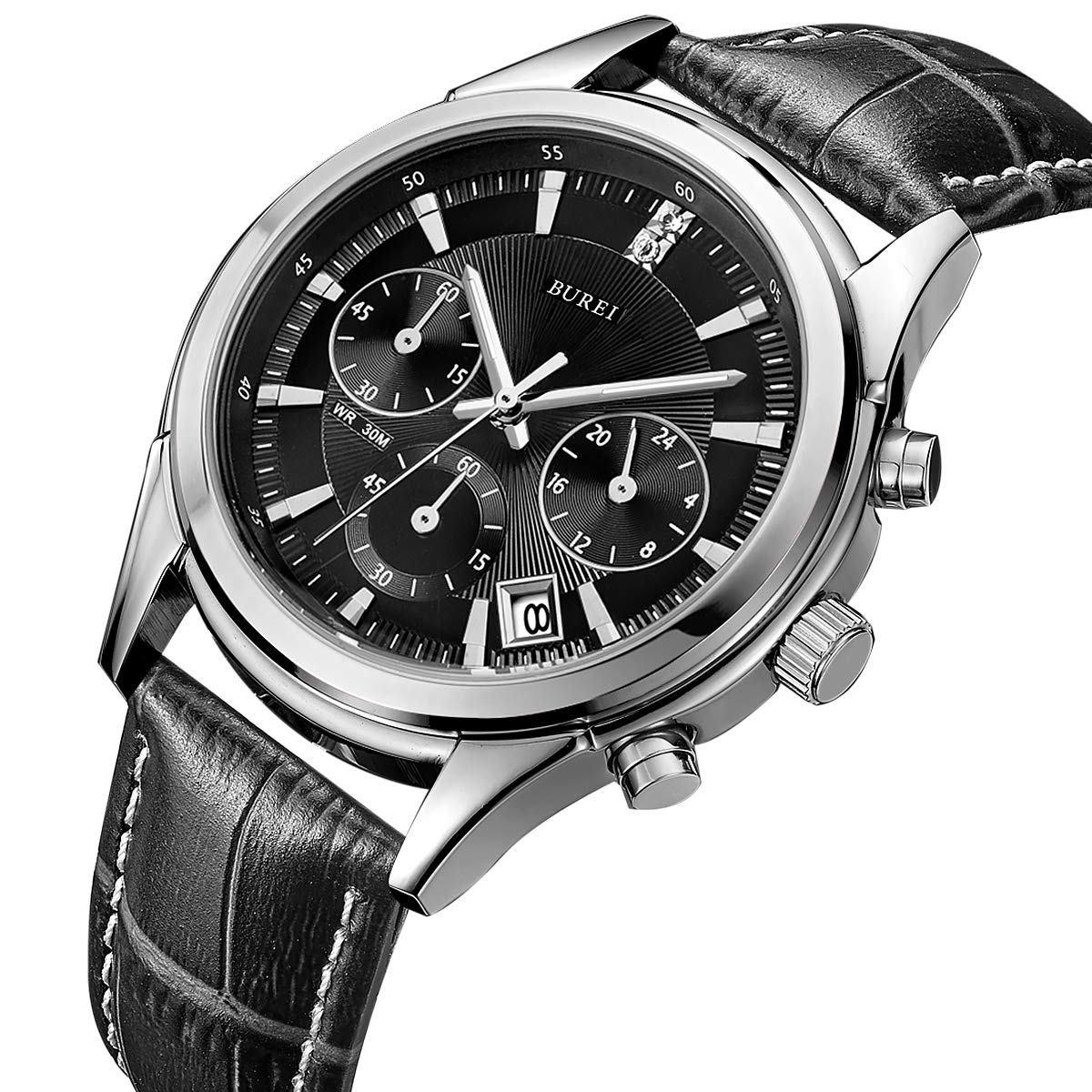 BUREI Mens Business Casual Elegant Chronograph Sports Watch with Genuine Leather Strap Black-Leather Strap