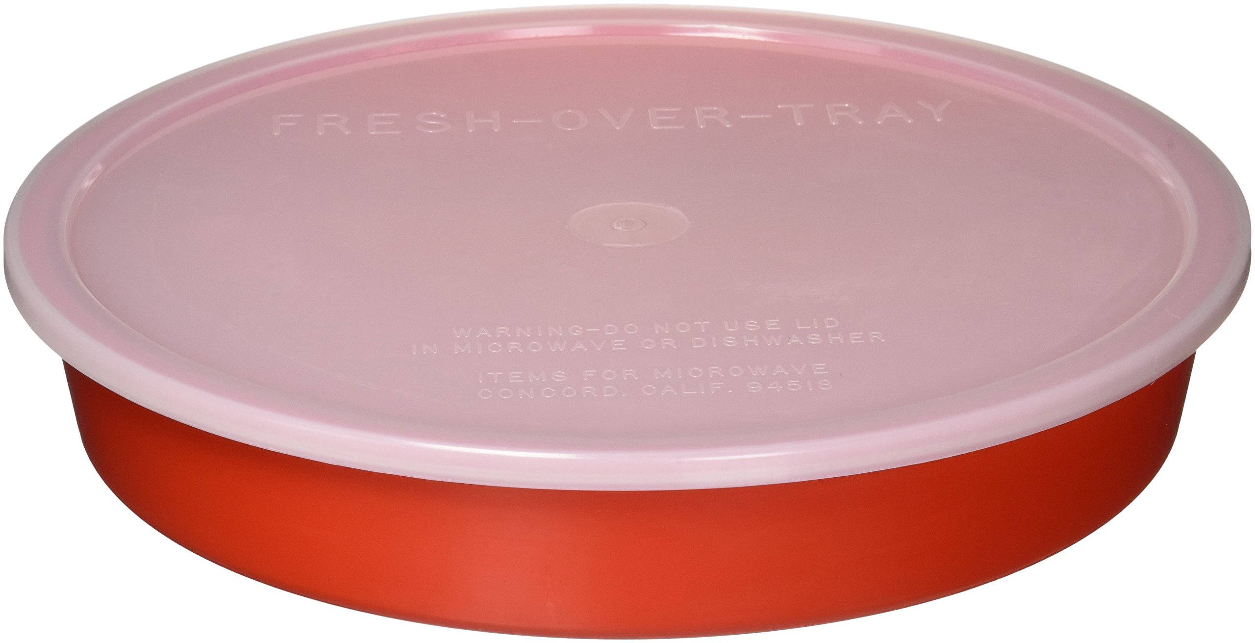 Sammons Preston High-Sided Divided Dish, Red, Break-Resistant & Lightweight Polypropylene Plastic, 10'' Diameter, 1.75'' High Vertical Sides & 7/8'' Section Dividers, Includes Lid for Travel & Storage