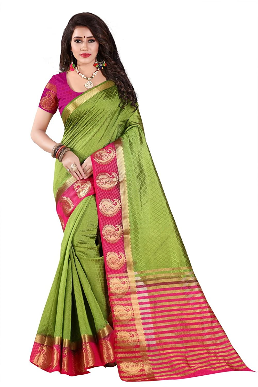 Nirja Creation Kanchipuram Silk with Blouse Piece Saree (NC-MANGO-003_Green_Free Size)