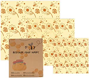 MANISHO Reusable Food Wraps Assorted 3 Pack Eco Friendly Organic Sustainable Plastic Free Food Storage 1 Small 1 Medium 1 Large - Bees 2