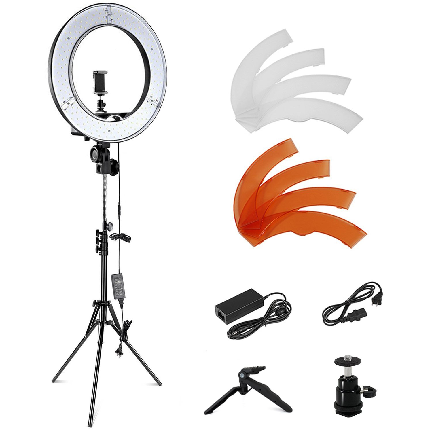 Lokfworld Ring Light 14-inch LED with Light Stand 65W 5400K Lighting Kit with Soft Tube,Color Filter,Hot Shoe Adapter, Small triangular stent for Makeup,Camera Smartphone Youtube Video Shooting by LOKFWORLD