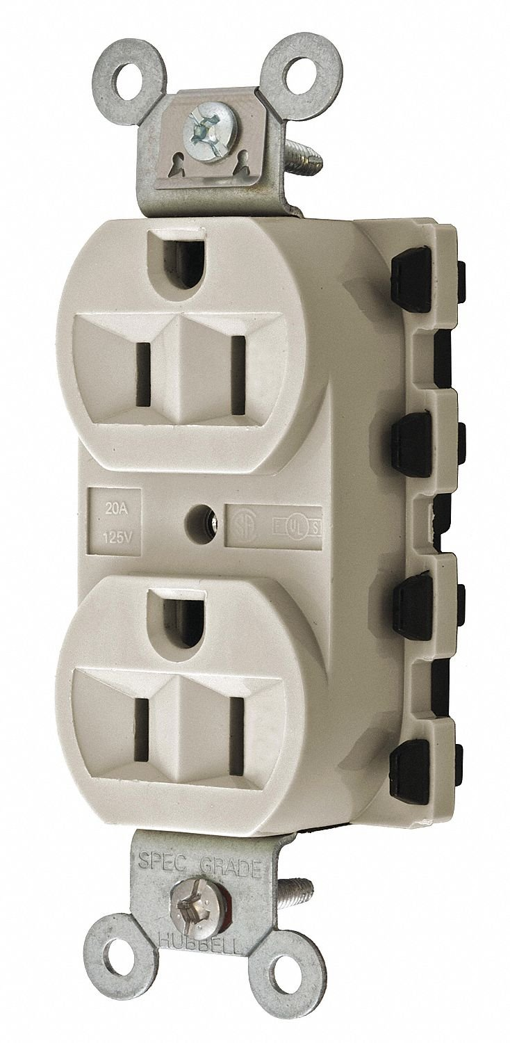 15A Commercial Environments Receptacle, Almond; Tamper Resistant: No
