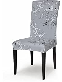 TIKAMI 1PCS Spandex Printed Fit Stretch Dinning Room Chair Slipcovers (1,  Gray) Part 40