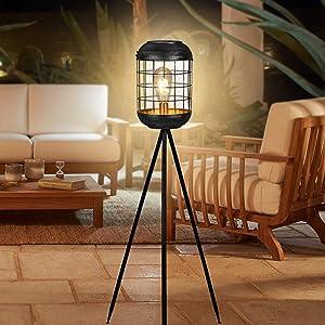 Solar Floor Lamp Outdoor Lights, Metal Tripod Lamp Waterproof LED Big Solar Lantern Decorative for Patio Deck Lawn Yard Garden (Antique Grey)