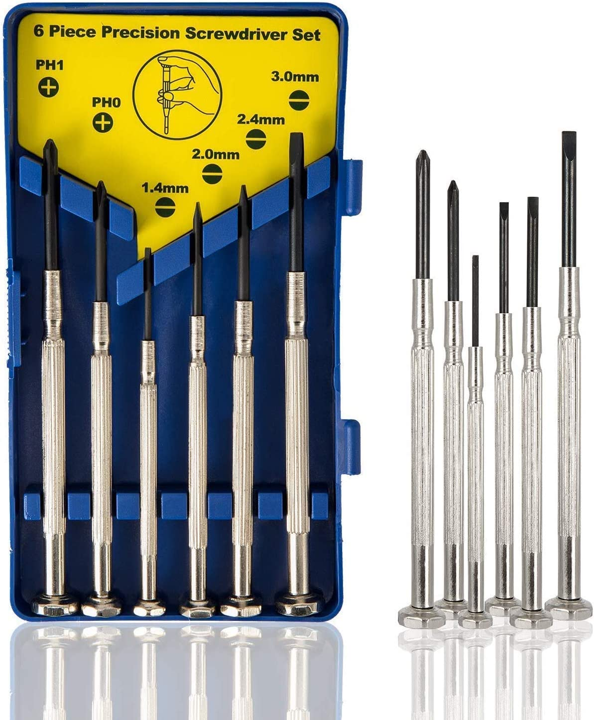 6Pcs Mini Screwdriver Set, Eyeglass Repair Screwdriver, Precision Repair Tool Kit with 6 Different Size Flathead and Philips Screwdrivers, Ideal for Watch, Jewelers: Home Improvement