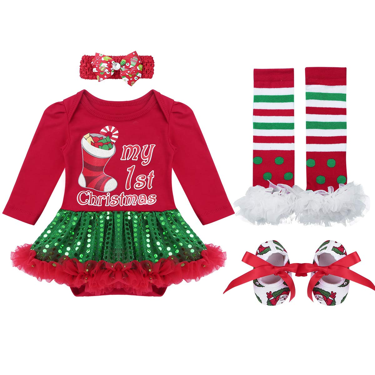 CHICTRY Newborn Baby Girls 1ST Christmas Outfits Tutu Romper Dress with Headband Leg Warmer Shoes Set