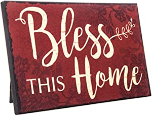 Toysdone Bless This Home Rustic Decor Red Wood Sign | Farm House Decorations Wall or Easel | Religious Gifts for Women | 9.5 Inches