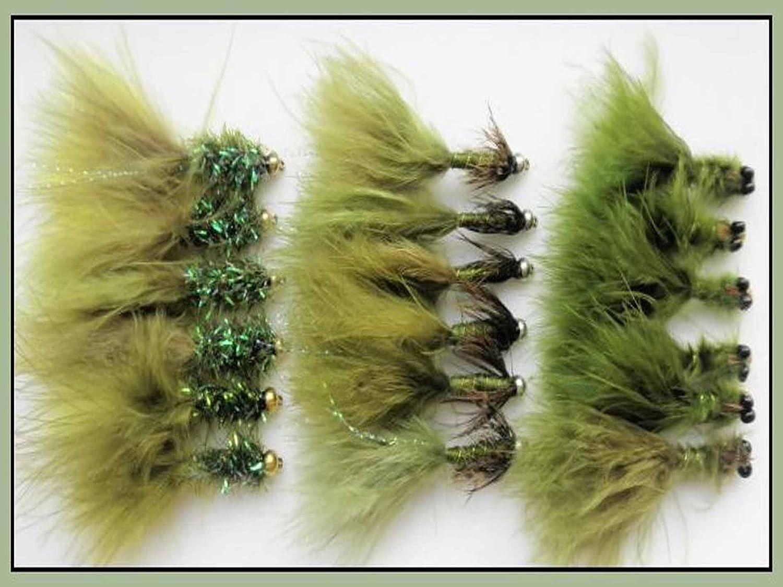 18 Goldhead colore: verde oliva, misura: 10 mosche da pesca, esche da pesca, colore: colori vari, ideale anche per l'acqua ideale anche per l'acqua Troutflies UK X31