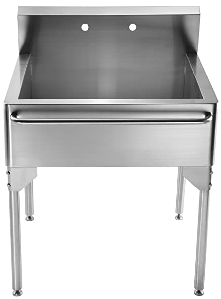 Whitehaus WH302510 NP Pearlhaus Single Bowl Commercial Freestanding Utility  Sink With Towel Bar