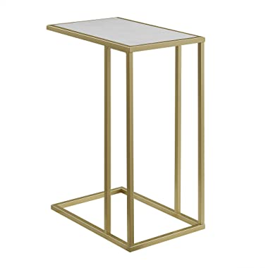 WE Furniture AZF20SCSTWM Side Table, 20 , Faux White Marble/Gold