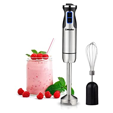 Mueller Ultra-Stick 500 Watt 9-Speed Powerful Immersion Multi-Purpose Hand Blender Heavy Duty Pure Copper Motor Brushed Stainless Steel Finish Includes Whisk Attachment
