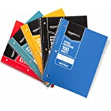 Amazon Basics Wide Ruled Wirebound Spiral Notebook, 100 Sheet, Assorted Solid Colors, 5-Pack