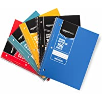 AmazonBasics Wide Ruled Wirebound Spiral Notebook, 100 Sheet, Assorted Solid Colors, 5-Pack