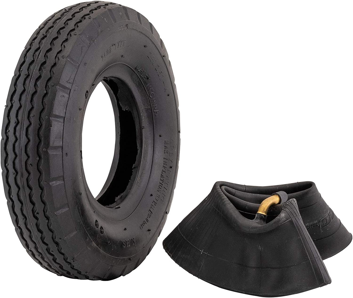 1x//4x 4.10//3.50-4 Inner Tube Tire For Pneumatic Trolley Wheel Bent Valve Air Set
