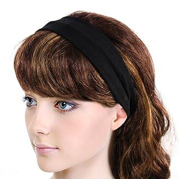 Amazon.com  Simple Solid Color Stretch Headband - Black (1 Pc)  Beauty 28ac4b789c6