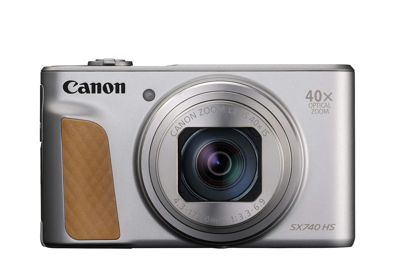 Canon PowerShot SX740 HS - Cámara compacta de 20.3 MP (40x Zoom óptico, 4K UHD, DIGIC 8, 5 Ejes, LCD desplegable, 10 fps, Bluetooth, WiFi) Plata