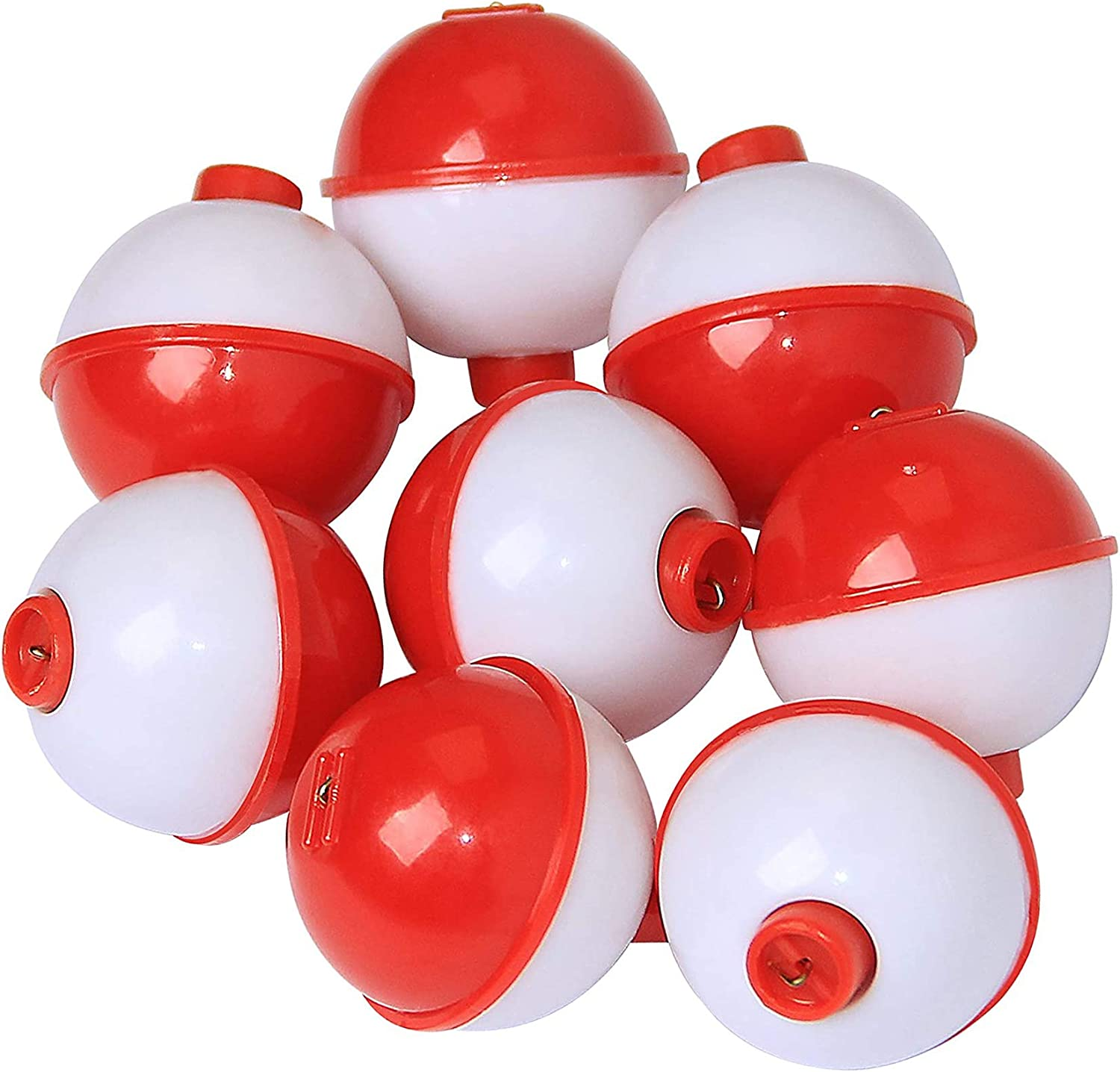 """25PK Round Floats 1/"""" Round Fishing Bobber Snap-On Push Button Combo Tackle x25"""