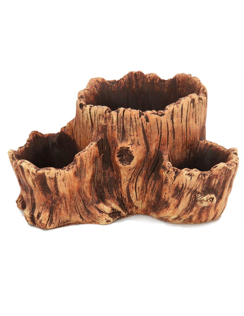 Dahlia Driftwood Stump Log Concrete Planter/Succulent Pot/Plant Pot, 10L x 7.7W
