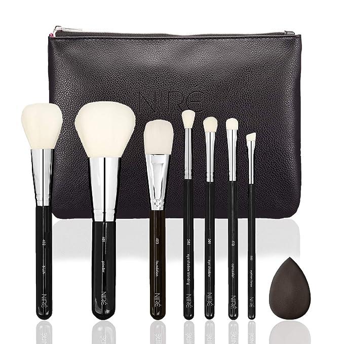 Set de Brochas de Maquillaje Muy Suave: 7 Brochas Profesionales con un Estuche de Maquillaje de Viaje y Esponja Maquillaje. Juegos de Maquillaje Vegano, ...