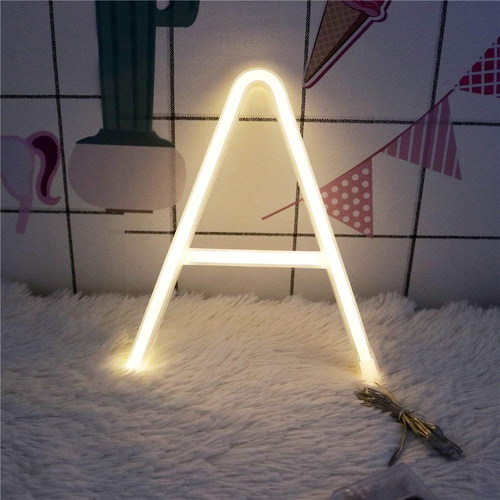 Neon Letter Light GUOCHENG LED Letter Light Alphabet Lamp Decor Light Bar Sign Home Decoration Battery and USB Operated for Party Wall Decoration Birthday Christmas Wedding Day Gifts (A)