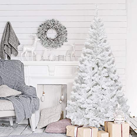 Goplus 5ft White Christmas Tree With Solid Metal Legs Perfect For Holiday Indoor And Outdoor Decoration Home Kitchen
