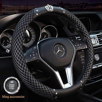 "Gray Bling Crystal Rhinestone Car Steering Wheel Cover Universal 14.5/""-15.5/"""